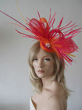 Orange and Pink Ostrich Quills & Feathers Big Fascinator Hat - Ascot MN154