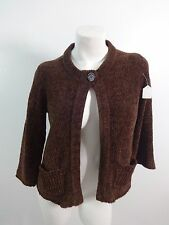 NEW PORT NEWS WOMENS BROWN ACRYLIC CARDIGAN SWEATER SIZE S SUPER CUTE!