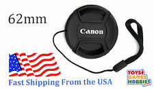 62mm E-62 Center Snap on Lens cap for CANON + Leash Directly attached to cap