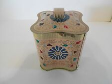 Peach Tin with Multi-Color Design, Made In England, Baret Ware