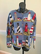 """Northern Isles Blue """"Lighthouse"""" Themed Long Sleeved Cotton Blend Sweater Medium"""