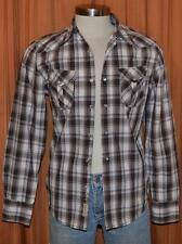 GUESS Long Sleeve Brown White Cotton Plaid Pearl Snap Western Shirt Mens Small