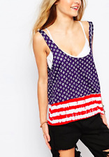 Vans Low Back Vest Top In American Dots & Stripes - S