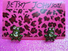 Betsey Johnson Green Frog Stud Earrings