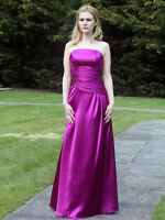 Purple satin wedding bridesmaid evening prom party dress LACE UP BACK SZ 8-22