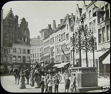 Glass Magic Lantern Slide QUENTIN MATSYS PUMP ANTWERP C1890 BELGIUM PHOTO