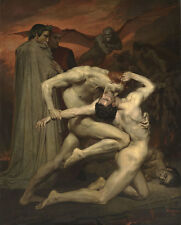 Dante and Virgile William ADOLPHE BOUGUEREAU lotta inferno nudo uomo B a3 03458
