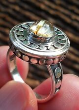 27 cts. GOLDEN RUTILATED CAT'S EYE QUARTZ CABOCHON 925 STERLING SILVER RING 33
