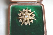 FINE ANTIQUE VICTORIAN 15 CT GOLD DIAMOND & SEED PEARL STAR PENDANT BROOCH CASED