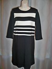 TALBOTS PETITE BLACK 3/4 SLEEVE STRETCH STRIPED FRONT DETAIL KNIT DRESS MED PET