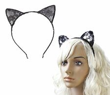 Black Lace Cat Ears Headband Hair Head Band Fancy Dress Party Flower Alice Hoop
