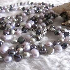"50"" 5-6mm Multi Color Baroque Freshwater Pearl Necklace Gray Peacock Gray-Pink A"