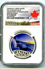 2017 $10 CANADA 150TH SILVER PROOF NGC PF70 MATTE FR LIGHTHOUSE AT PEGGY'S COVE