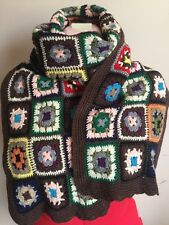 LUCKY BRAND GRANNY SQUARE CROCHET SCARF MADE WITH PEACE & LOVE FLORAL MULTICOLOR