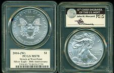 2016 (W) $1 PCGS MS70 SILVER EAGLE MERCANTI SIGNATURE 30TH ANNIVERSARY SIGNED