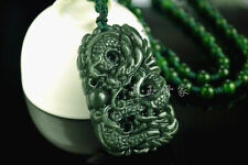 Hand-carved Natural Green Chinese Hetian Jade Pendant - Dragon-Free Necklace