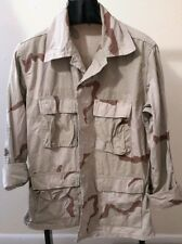 Vintage Camo Jacket US Military Shirt Combat  Multi-Colo Faded Distressed medium