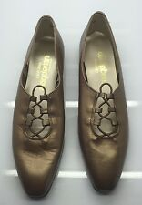 MAGDESIAN Gold Leather Victorian Lace-Up Granny Ballet Flat Loafers 7.5N Worn 1x