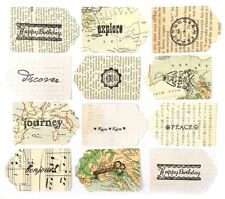 12er Pack Vintage Ephemera Tags Mit Gefühle Für Karten Basteln Reisen Topper