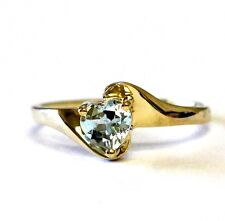 10k yellow gold women's heart blue topaz gemstone band ring 1.3g vintage estate