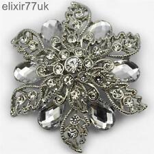 "2.1"" LARGE SILVER PLATED FLOWER BROOCH DIAMANTE CRYSTAL WEDDING BRIDAL BROACH UK"