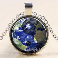 Vintage ying yang earth Cabochon Silver plated Glass Chain Pendant Necklace n9