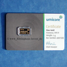 Goldbarren 1g 1 Gramm Feingold Umicore  Gold 99,99 Blister new design gold bar