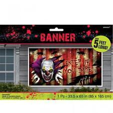 Halloween Creepy Carnevil Clown Enter If You Dare Horizontal Scene Setter Banner