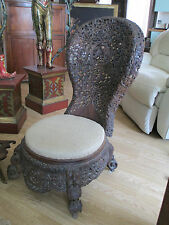 VICTORIAN ANGLO INDIAN CARVED SPOONBACK EASY NURSING CHAIR