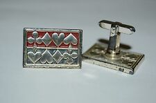 WOW Vintage Mid Century Aged Gambler Gambling Cards Poker Suits Cuff Links Rare