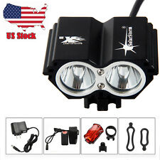 SolarStorm 5000Lm 2x XML T6 LED Head Bicycle Bike Headlight Torch Rear Light SET