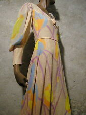 CHIC VINTAGE ROBE LONGUE 1970 VTG MAXI DRESS 70s SEVENTIES KLEID ABITO (36)