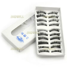 10 Paia Finte Ciglia Folte Nero False Eyelashes Prof Trucco Make Up Occhi