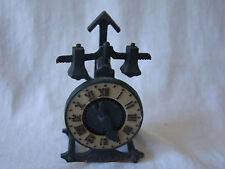 VTG Old Clock Manual Pencil Sharpener Heavy Metal - Hands Move by Gear 331621