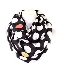 B102 Eternity Thick Mixed Color Polka Dot Black Pink Yellow Infinity Scarf
