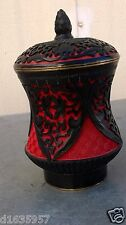 China Antique inside Brass enamel outside Carved lacquerware Cup with cover