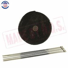 """Black Exhaust Header Heat Wrap Shield, 1"""" x 50' Roll With Stainless Ties Kit"""