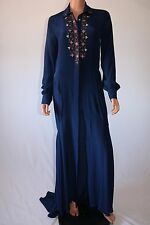 Haute Hippie Prussian Blue Placket Embellished Beaded Long Shirt Dress