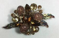 Vintage JULIANA Molded Glass Amber Color~Acorns Leaves rhinestone brooch pin