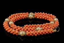 ANTIQUE CHINESE BRAIDED PINK CORAL BEADS FAUX PEARL NECKLACE CHOKER