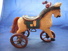 "WOODEN HORSE ON WHEELS REPLICA 7 1/2"" BY 9"""