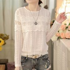 Women Retro Lady Hollow Stitching White Lace Shirt Long Sleeve Loose Blouse Tops