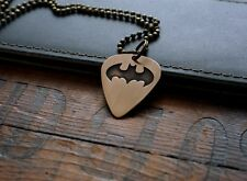 Hand Made Etched Bronze Guitar Pick Necklace - Batman