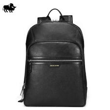 BISON DENIM Genuine Leather Men Fashion Travel Backpack Casual Black Bag