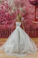 Fashion Princess Dress Wedding Clothes/Gown +Veil For Barbie Doll S285