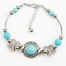 New Turquoise Beads Tibetan Silver Plated Butterfly Bracelet Handmade Jewelry