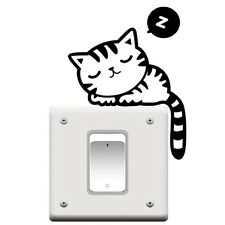 2PCS Cute Cat Nap Pet Light Switch Funny Wall Decal Vinyl Stickers Black WS