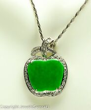 Natural Imperial Jadeite Jade Diamond 18K White Gold Apple Pendant Necklace 15""