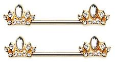 Nipple Bar Golden Tiara Crown Sparkle Barbell Ring Sold as pair Red