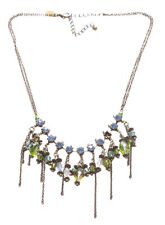 Bohemia Blue Diamante/green, Blue & Clear Crystal Fringe Necklace(A25/zx221)